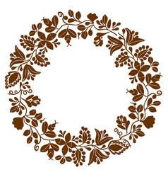 brown laurel wreath frame on white background vector image