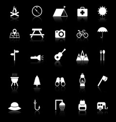 Camping icons with reflect on black background vector image