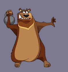 Cartoon character bear is doing sports and pulling vector