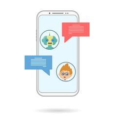 Chat bot phone chating vector