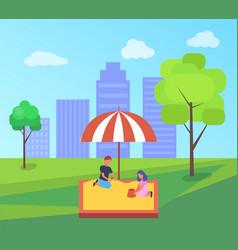 childrens summer playground with a sandbox in vector image
