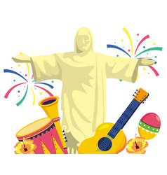 Christ redeemer with musical instruments vector