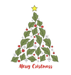 christmas tree season elem vector image
