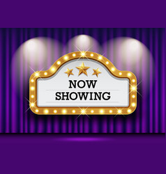 cinema theater and sign light up curtains purple vector image