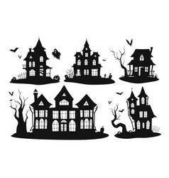 collection silhouettes haunted houses vector image