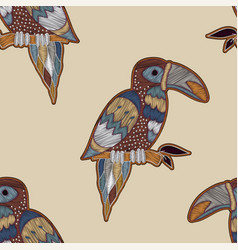 colorful pattern with birds seamless vector image