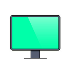 computer monitor with blank screen thin line icon vector image