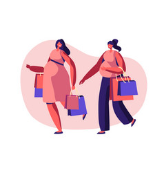 Couple beautiful pregnant women going shopping vector
