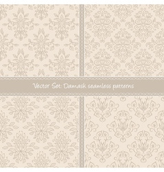 Creamy summer damask seamless pattern vector image
