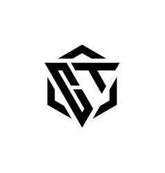 Ct logo monogram with triangle and hexagon modern vector