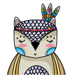Cute owl animal with feathers decoration vector