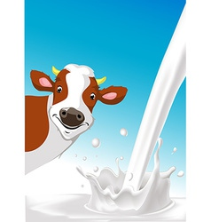 design with cow and pouring milk splash vector image