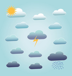 different clouds with sun rain and lightning vector image