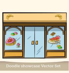 Doodle showcase confectionery set vector