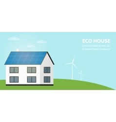 Eco house banner Sun and wind energy generation vector
