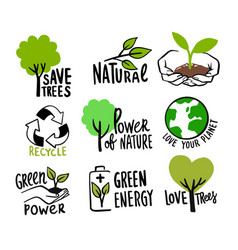 ecologic labels eco safe emblems green logo vector image