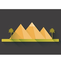 Egyptian pyramids in flat style with long shadows vector