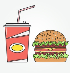 Fast food icon icon cola and burger For web vector image