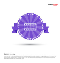 film strip icon - purple ribbon banner vector image