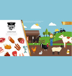 flat farm colorful composition vector image