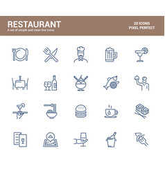 flat line icons design-restaurant vector image