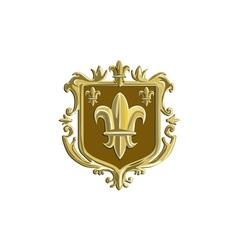 Fleur de lis coat arms gold crest retro vector