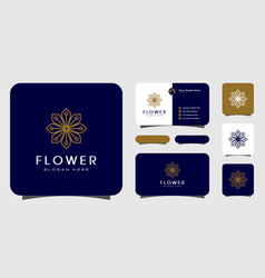 Flower mono line luxury logo with business card vector