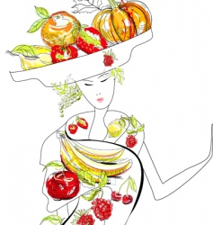 fruit woman vector image