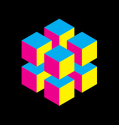 Geometric cube of 8 smaller isometric cubes in vector