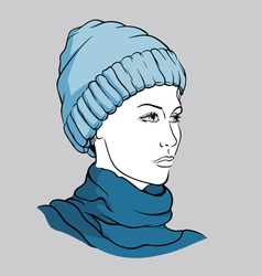Girl with winter cap vector image