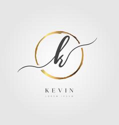 Gold elegant initial letter type k vector