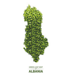 Green leaf map of albania of a vector