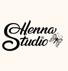 Hand drawn lettering henna studio ink vector