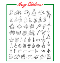 hand drawn set of lovely merry christmas items vector image