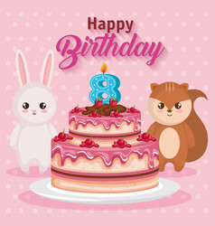 Happy birthday card with chipmunk and rabbit vector