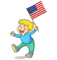 Happy boy holding American flag vector image