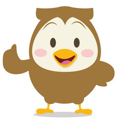 Happy brown owl character vector