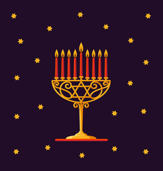 Happy hanukkah gold menorah with red candles and vector