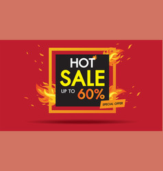 hot sale fire template design square banner vector image