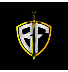 Initials b f is a shield decorated vector