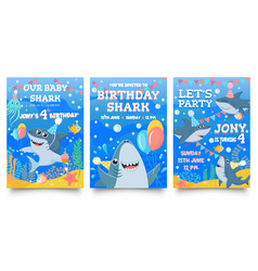 Invitation card with cute sharks bashark vector