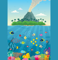 Island reef and volcano vector