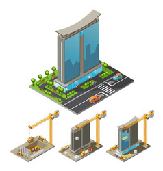 Isometric building construction process concept vector