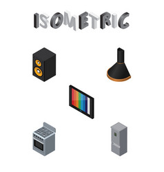 Isometric electronics set of music box air vector