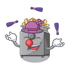 Juggling deep fryer machine isolated on mascot vector