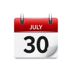 July 30 flat daily calendar icon Date vector