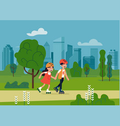 Kids riding roller skates in a park vector