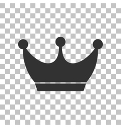 King crown sign Dark gray icon on transparent vector