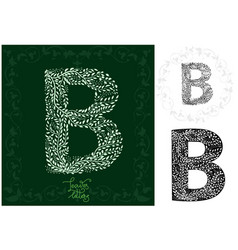 leaves alphabet letter b vector image