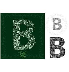 leaves alphabet letter b vector image